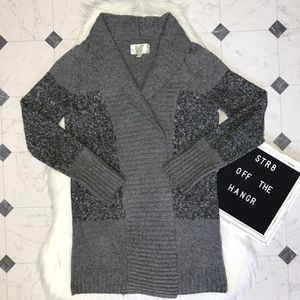 ruby moon gray marled cardigan sweater size Medium